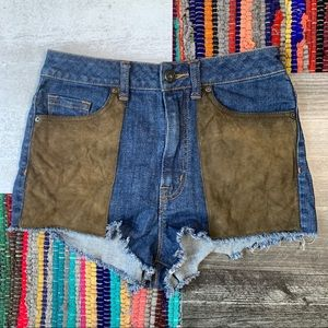 UO BDG 'High Rise Cheeky' Suede Pocket Shorts